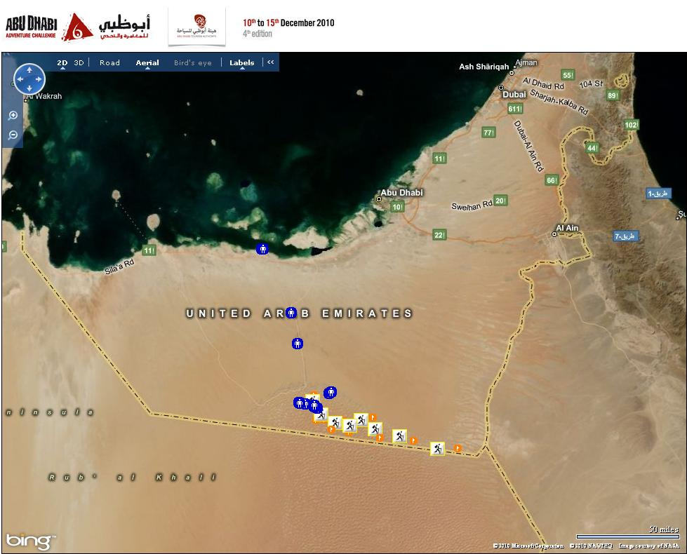 Great map view of the Abu Dhabi Adventure Challenge