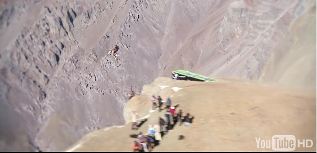Biker Films Himself Riding Off A 4000ft Cliff In Chile