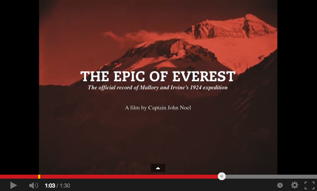 The Epic of Everest film – restored footage from Mallory's climb