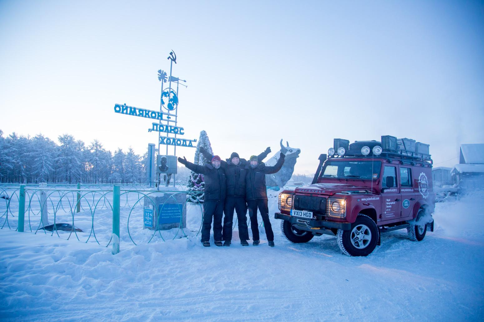 Defender driven 20,000km to the Pole of Cold
