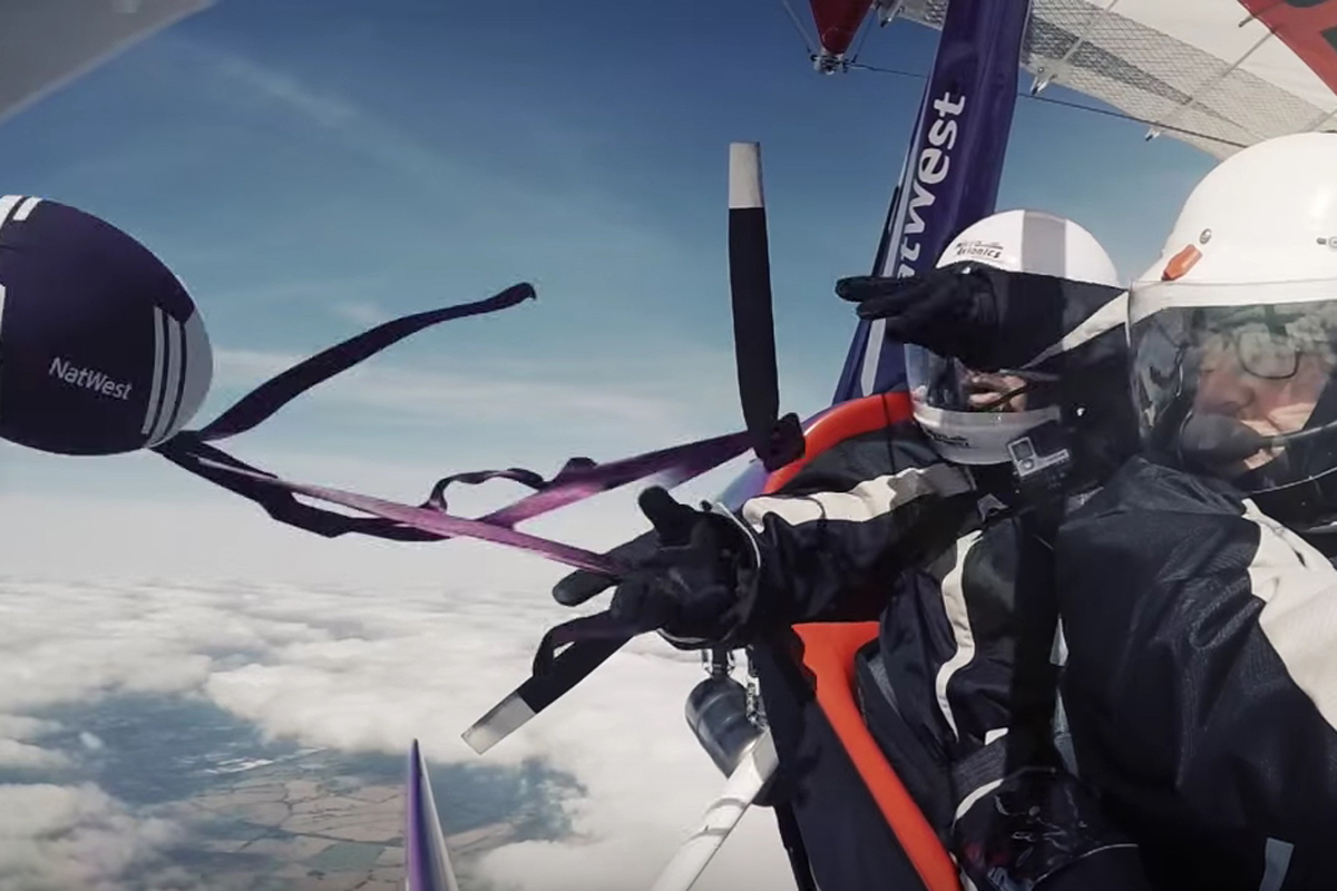 Video: Rugby ball pass from a GT450 microlight at 6,000ft
