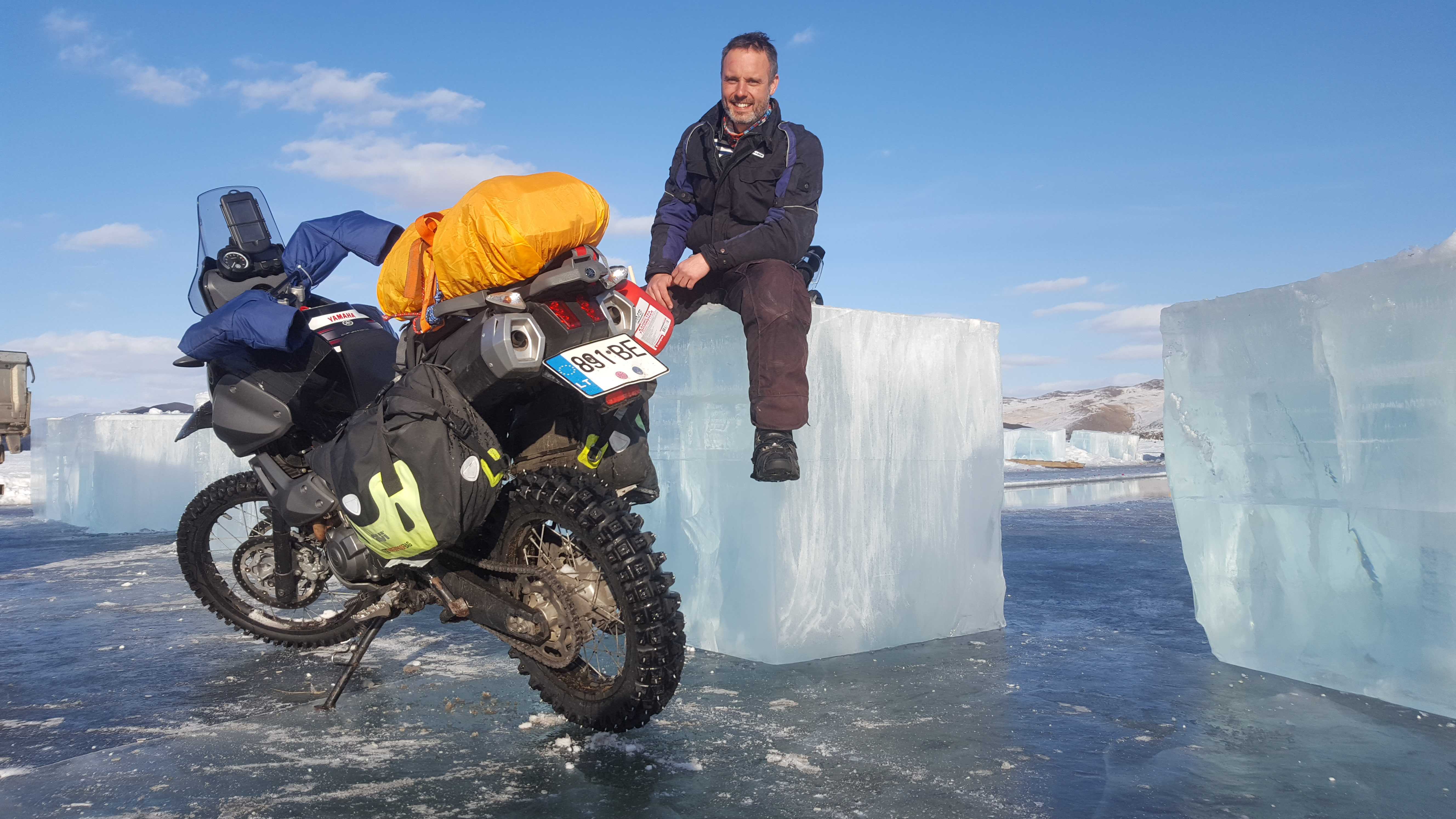 Karolis Mieliauskas on his solo motorcycle ride over the frozen Lake Baikal