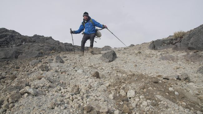 Tom scrambles down the Ruiz Volcano on August 28, 2019