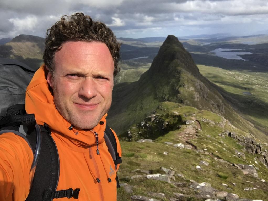 Dan Tye on a windswept Suilven in July 2020