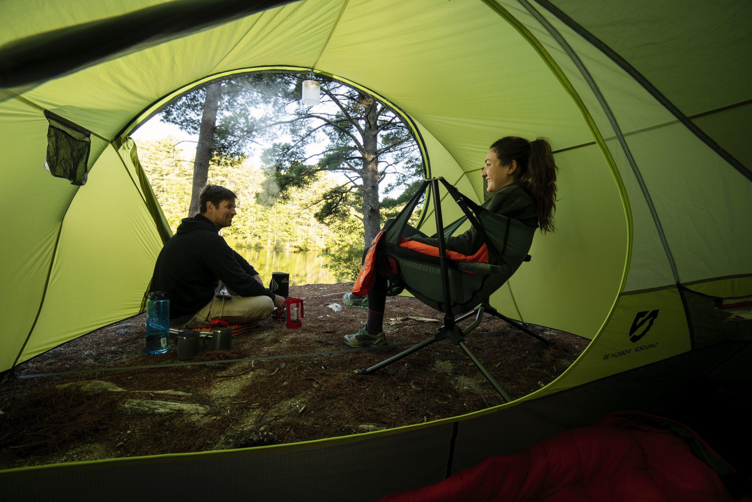 Check out this tent with a wide porch you can sit in